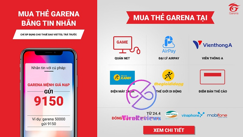 mua thẻ garena bằng SMS mobifone